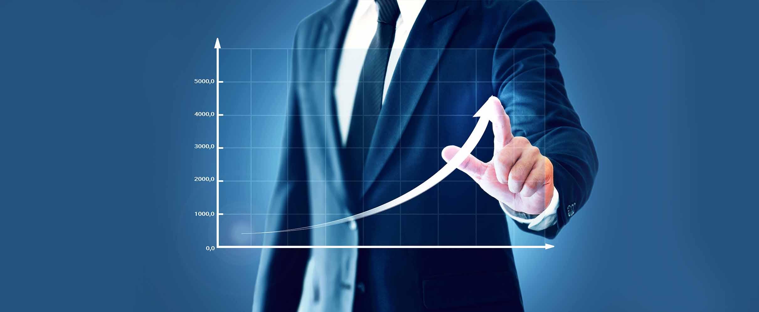 A man leads an arrow across a floating graph.