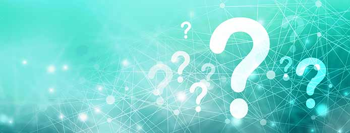 A light turquoise background with several question marks.