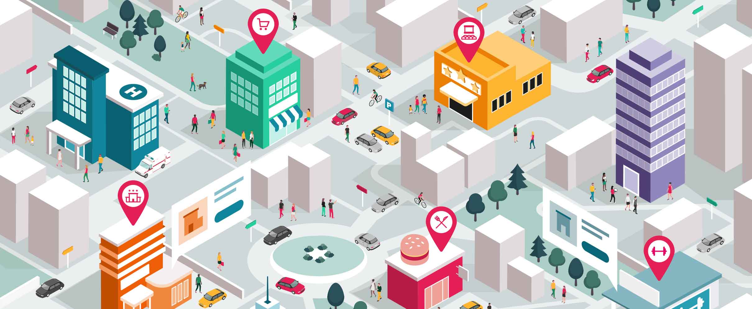 Colorful vector showing a city with different shops.